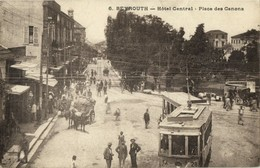 Lebanon, BEIRUT BEYROUTH بيروت, Place Des Canons, Tram Street Car (1921) - Lebanon