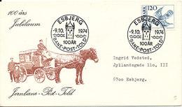 Denmark Cover With Special Postmark And Cachet Esbjerg 9-10-1974 Rail - Post - Customs - Denmark