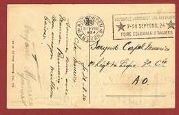 Kaart Antwerpse Dokpaarden Naar 1e Linieregiment In A.O. Vanuit Antwerpen 1924 ; 2 Scan - WW I