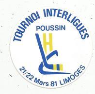 Autocollant , Sports , Hockey ,tournoi Interligues POUSSIN ,1981 , LIMOGES - Autocollants