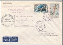 Belle Lettre TAAF - P. Mahé Marion Dufresne - Posted At Sea Kerguelen - 1978 - Lettres & Documents