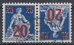 SCHWEIZ K 16, Gestempelt, Aufdruck 1921 - Tête-Bêche