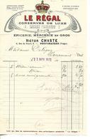 Facture 1/2 Format 1913 / 88 NEUFCHATEAU / V. CHASTE / LE REGAL Epicerie, Conserves De Luxe, Menus Au Dos - France
