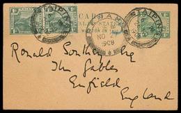 MALAYSIA. 1908. FMA. Taiping - UK. 1c Stat Card + 2 Adtls. Via Penang. VF. - Malaysia (1964-...)
