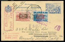 GREECE. 1946. Athens - USA. Stat Card + Adtls Air Fkd / Registered. Ovptd Issue. VF. - Grecia