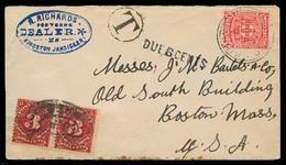 BC - Jamaica. 1907. Kington - USA. Fkd Taxed Env + US X 2 Postage Dues, Tied. XF. - Ohne Zuordnung