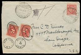 ITALY. 1930. Venezia / Lido - USA / California. Fkd Env + Taxed + 2 X US Postage Dues / Tied. XF. - Italien