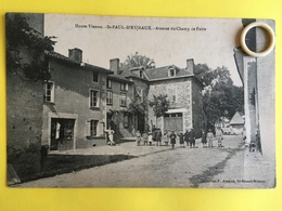 Rare CPA Animée De Saint PAUL D' EYJEAUX  ( 87 )  Avenue Du Champ De Foire   (  EYM39 )  ( BCPAHV6604 ) - Autres Communes