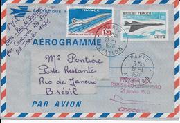 Aérogramme Concorde Premier Vol Paris-Rio De Janeiro 21 Janvier1976-+timbre 1970 Concode-voir Dos - Avions