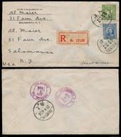 CHINA. 1940. Tientsin (Jap Occup) - USA. Registered Fkd Env. Via Shanghai. VF. - China