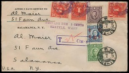 China - XX. 1940. Japanesse Occup - USA. Multifkd Taxed Env + 3 US Postage Dues, Tied (Aug 6, 1940) + Tax Pmks. Lovely L - Non Classificati
