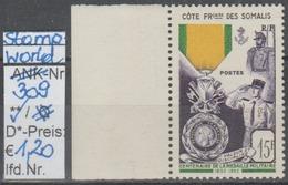 """1952 -  SM  """"Militär.Medaille - Cote Francais Des Somalis"""" -  ** Postfrisch Mit Allonge - Siehe Scan (stampworld 309) - Ungebraucht"""
