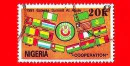 NIGERIA - Usato - 1991 - Bandiere - ECOWAS Summit, Abuja - Economic Community - 20 - Nigeria (1961-...)