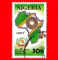 NIGERIA  - Usato - 1991 - Conferenza OAU Ad Abuja - Mappe - Unity - 30 - Nigeria (1961-...)