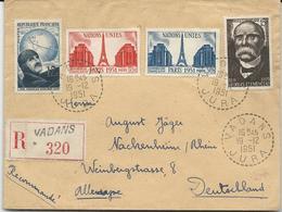 LETTRE RECOMMANDEE 1951 POUR L'ALLEMAGNE AVEC 4 TIMBRES ET CACHET PERLE DE VADANS - JURA - Postmark Collection (Covers)