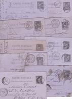 FRANCE ENTIER POSTAL CARTE POSTALE TYPE SAGE N° 89 CP2 NOIR SUR LILAS  OBLITERE LOT DE 10 PIECES COTE 25 EUROS - Biglietto Postale