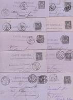 FRANCE ENTIER POSTAL CARTE POSTALE TYPE SAGE N° 89 CP2 NOIR SUR LILAS  OBLITERE LOT DE 10 PIECES COTE 25 EUROS - Entiers Postaux