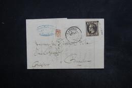 FRANCE -Lettre De Cambrai Pour Bruxelles En 1869 , Affranchissement Napoléon Lauré - L 24045 - Postmark Collection (Covers)