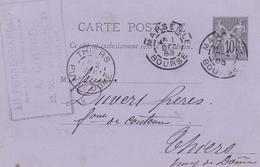 FRANCE ENTIER POSTAL CARTE POSTALE TYPE SAGE N° 89 CP2 NOIR SUR LILAS  OBLITERE MARSEILLE BOURSE 1886 - Entiers Postaux