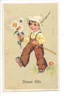 21517 - Bonne Fête Enfant Au Chapeau Pointu Bouquet De Marguerites - Fêtes - Voeux