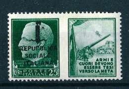 VARIETA' - REPUBPLICA ITALIANA SASS. 26 H - NUOVO MNH**  - DENTE SUPERIORE CORTO - PROPAGANDA DI GUERRA - 4. 1944-45 Repubblica Sociale