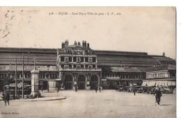 CPA, (21) DIJON, Gare DIJON Ville De Près, Cycliste, écrite, Timbre Décollé - Dijon