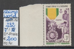 """1952 - SM """"Franz. Militär.Medaille - Etab. Franc. De L'Oceanie""""  - ** Postfrisch M. Allonge - S. Scan  (stampworld 232) - Ungebraucht"""