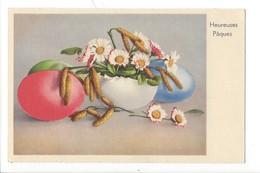 21519 - Heureuses Pâques Oeufs  Branche De Chatons Et Pâquerettes - Pâques