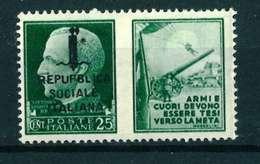 VARIETA' - REPUBPLICA ITALIANA SASS. 26 H - NUOVO MNH**  - PROPAGANDA DI GUERRA - 4. 1944-45 Repubblica Sociale