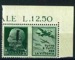 VARIETA' - REPUBBLICA  SOOIALE ITALIANA SASS. 27 K - NUOVO MNH**  - PROPAGANDA DI GUERRA ADF - 4. 1944-45 Repubblica Sociale