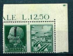 VARIETA' - REPUBBLICA  SOOIALE ITALIANA SASS. 25 K - NUOVO MNH**  - PROPAGANDA DI GUERRA ADF - 4. 1944-45 Repubblica Sociale