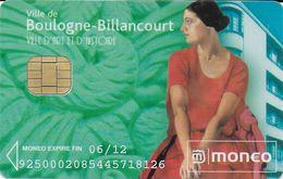 CARTE A PUCE CHIP CARD MONEO STATIONNEMENT BOULOGNE-BILLANCOURT TRACES USAGE MAIS TTB - Francia