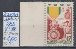"""1952 - SM """"Franz. Militär-Medaille - Togo""""  -  ** Postfrisch M. Allonge - Siehe Scan  (stampworld 255) - Togo (1914-1960)"""