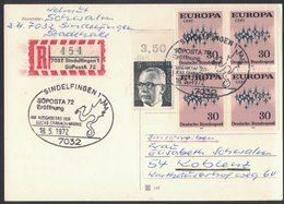YN38   Germany Registered Cover 1972 Sindelfingen SuPostA 72 + Sonderstempel, Block Europa Cept - [7] Repubblica Federale