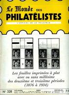 Le Monde Des Philatelistes N.328,usage Courant Semeuse,taxe,poste Maritime Coloniale,Béquet Varieté UV,Semeuse 10c,Céres - Revistas