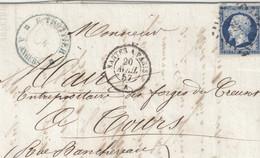 E47 - 14 Sur Lettre Oblitération Ambulant NANTES A PARIS 20 AVRIL 57 - Lettre De Angers Pour Tours - 1853-1860 Napoleon III