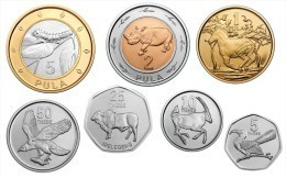 BOTSWANA ANIMALS 7 COINS SET 5, 10, 25, 50 THEBE + 1, 2, 5 PULA BIMETAL UNC 2013 - Botswana