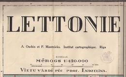 LETTONIE - ANNCIENNE Et IMMENSE CARTE GÉOGRAPHIQUE - 420.000ème - Geographical Maps