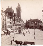 AK-0876/ Basel  Marktplatz Rathaus Kutschen Stereofoto V Alois Beer ~ 1900 - Photos Stéréoscopiques