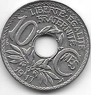 France 10 Centimes  1917 Km 866a   Xf - France
