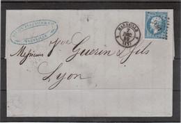 E47 - 14 Sur Lettre Du 7 DEC 59 De MARSEILLE  - PC 1896 Pour LYON - - 1853-1860 Napoléon III