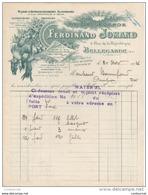 01 BELLEGARDE Sur Valserine FACTURE 1926 Grande Halle  Comestibles Primeurs Ferdinand JOMAND    - C53 AIN - France