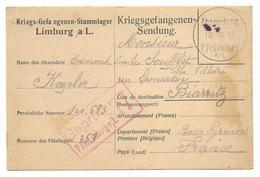 Guerre 14 18 LIMBURG Allemagne Carte Prisonnier Pour BIARRITZ Kriegsgefangenen Sendung  18.10.17   ..G - Guerra De 1914-18