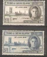 Turks & Caicos - 1946 Victory MH *  SG 208-9 - Turks And Caicos