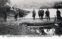 Croquis De Guerre 1915 Pont Improvisé Par Le Genie Franais Sur L'oise ( Rare Et Unique Sur Delcampe ) - Manoeuvres