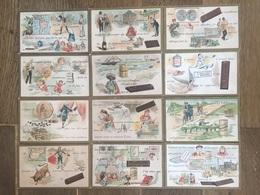 Série Complète 12 CHROMOS CHOCOLAT SUCHARD S45 1895 Rébus Puzzles - Suchard