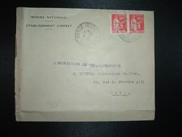 LETTRE TP PAIX 50c Paire OBL.4-4 40 BASSE-INDRE LOIRE-INFRE (44) MARINE NATIONALE ETABLISSEMENT D'INDRET - Marcophilie (Lettres)