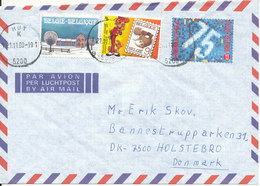 Belgium Air Mail Cover Sent To Denmark 18-11-1989 (hinged Marks On The Backside Of The Cover) - Airmail