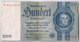 BILLET DE BANQUE D'ALLEMAGNE 100 REICHSMARK Du 24 Juin 1935 N° T.5935419 état TTB - [ 4] 1933-1945 : Third Reich