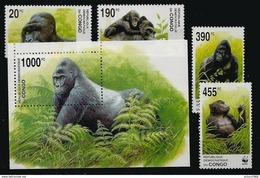 Zaire Congo Kinshasa RDC COB 2110/13 + BL207 Série Compl. Et Bloc-feuillet MNH / ** 2002 COB: 30,00€ Gorille WWF - Nuevos